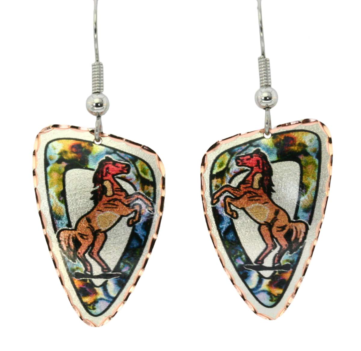 Painted horse earrings with colorful background ideal for a special occasion or anytime