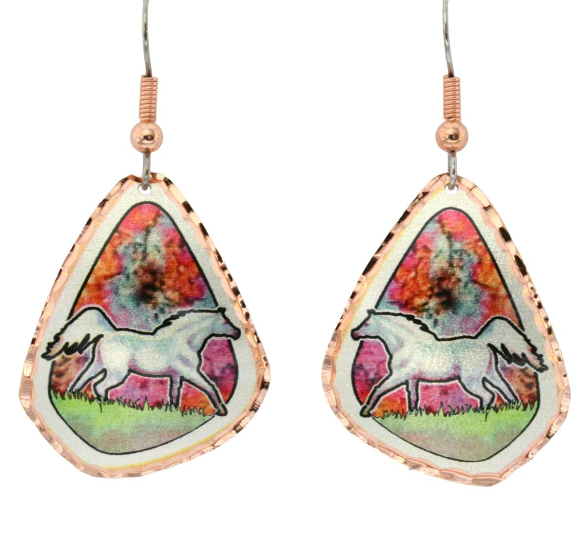 Background flame painting colored white horse earring