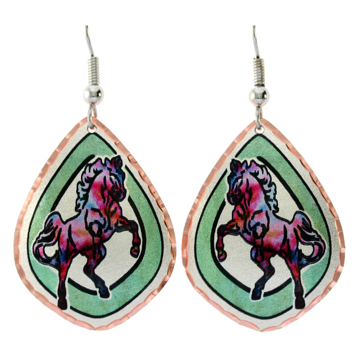 Rearing horse earrings handmade from copper in vibrant colors