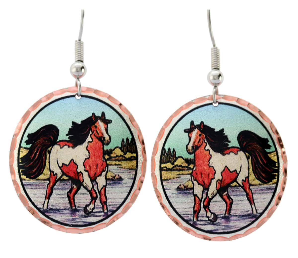 Brown and white spotted horse earrings with blue sky color background