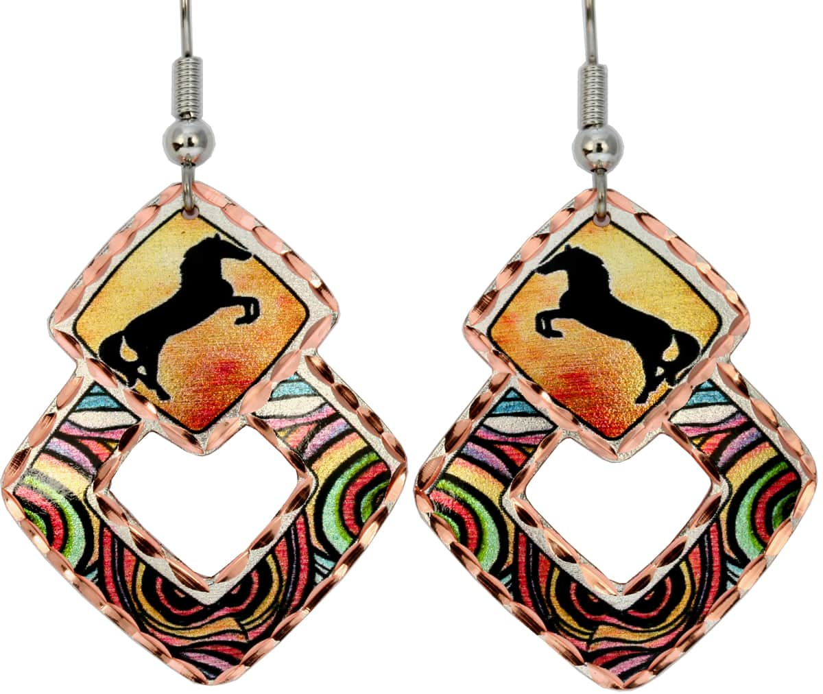 Horse Earrings, Art Jewelry for Women