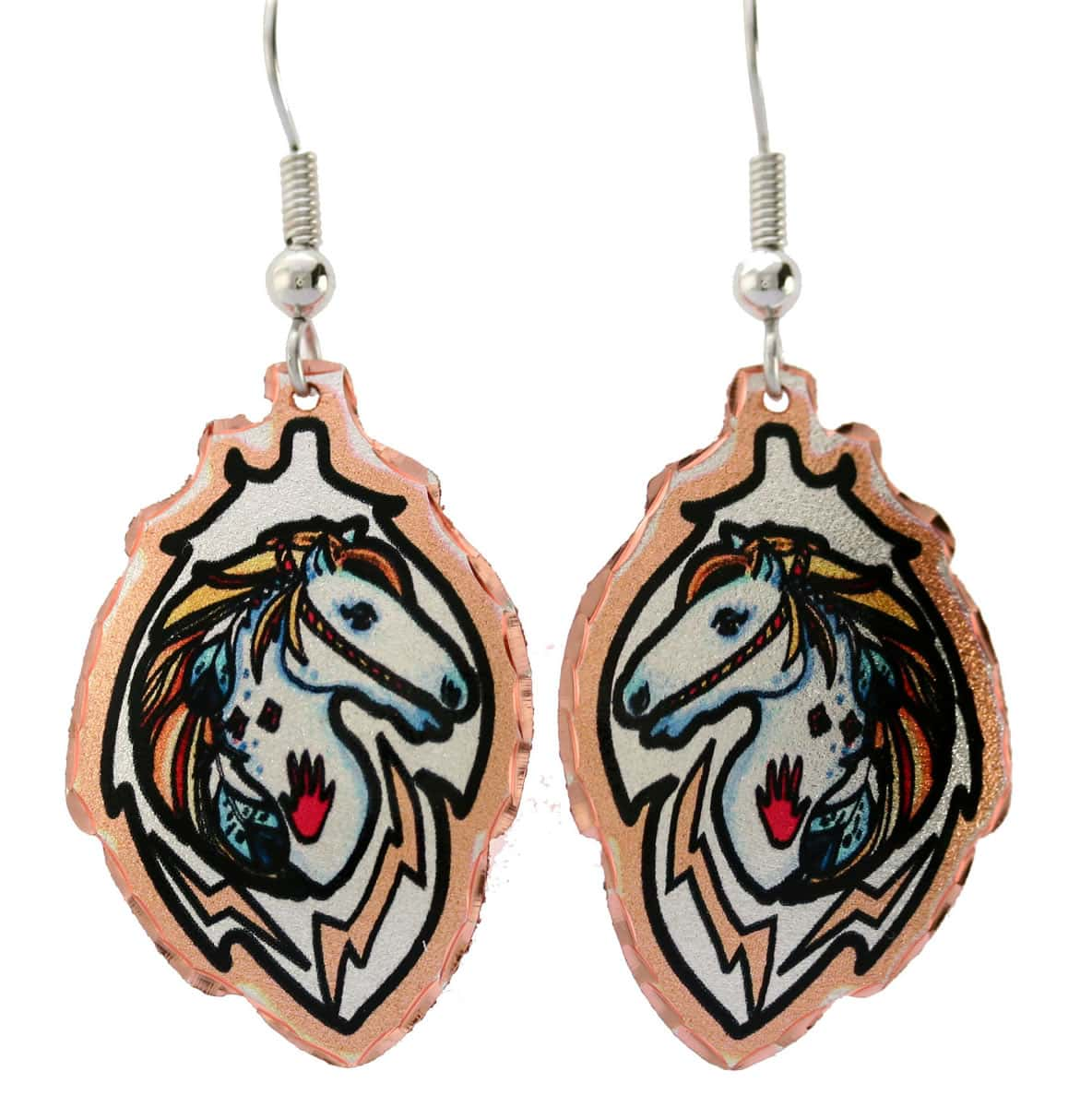 Colorful war pony earrings handmade from copper in feather shape
