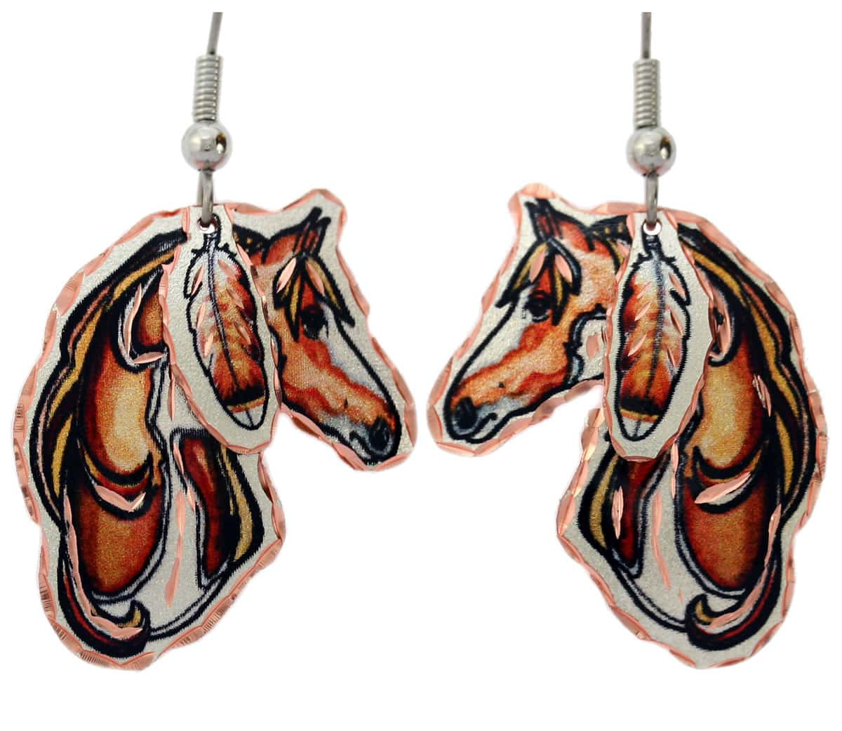 Horse Earrings with Hawk Feather Dangles