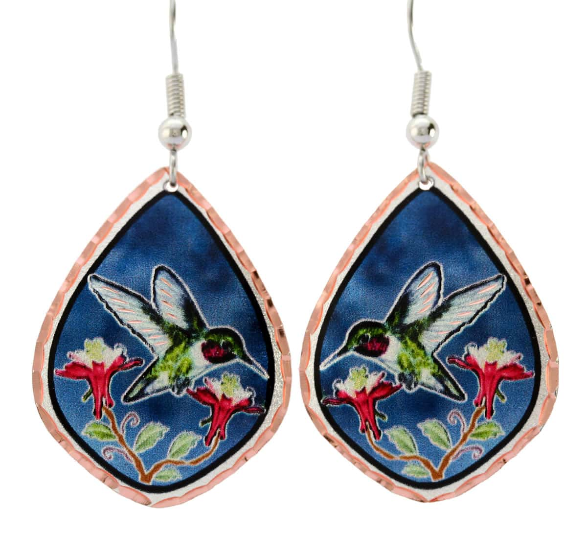 Beautiful hummingbird earrings handmade from copper diamond cut to sparkle with navy blue background