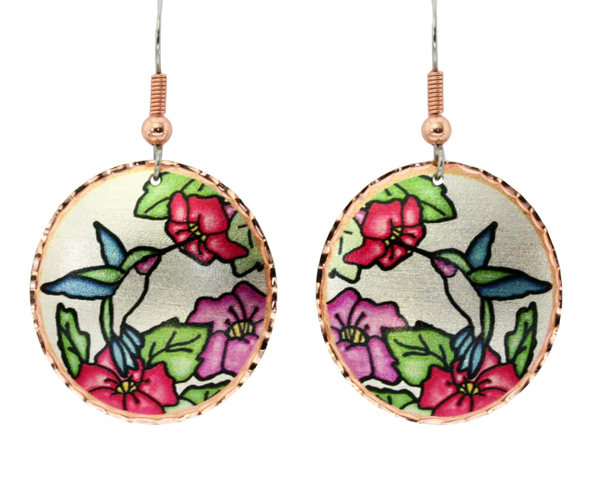 Buy hummingbird earrings created in Stained glass designed