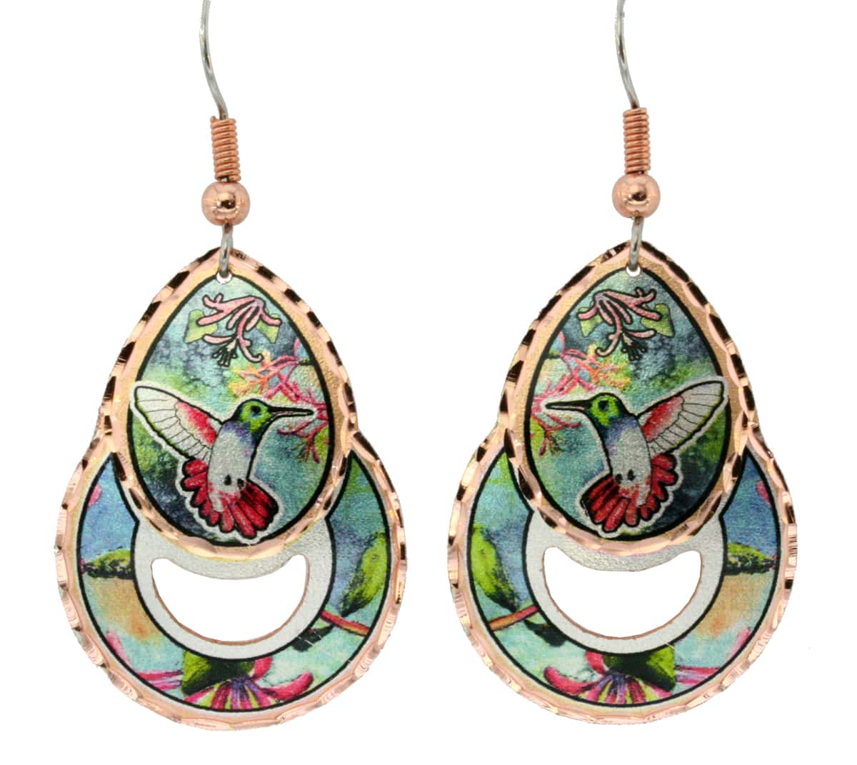Distinctively shaped hummingbird earrings handcrafted in vibrant colors