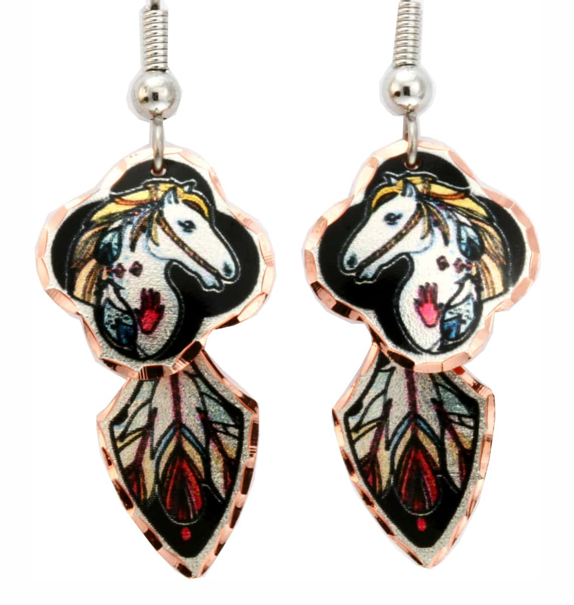Indian War Horse Earrings with Feather Art Dangle