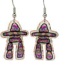 Colorful cut out copper Inukshuk earrings