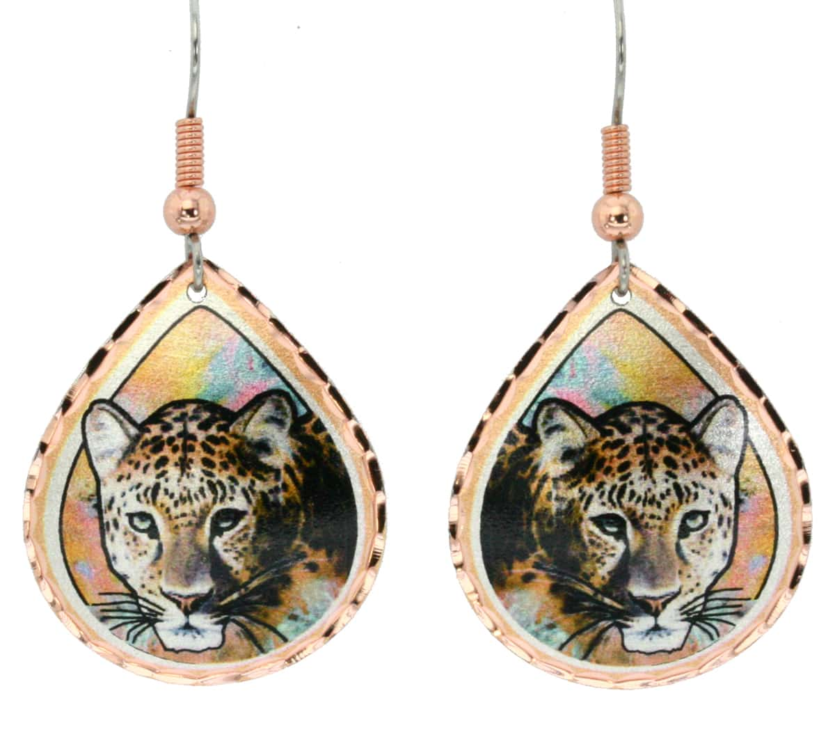 Wear leopard earrings created in bright colors to make you smile