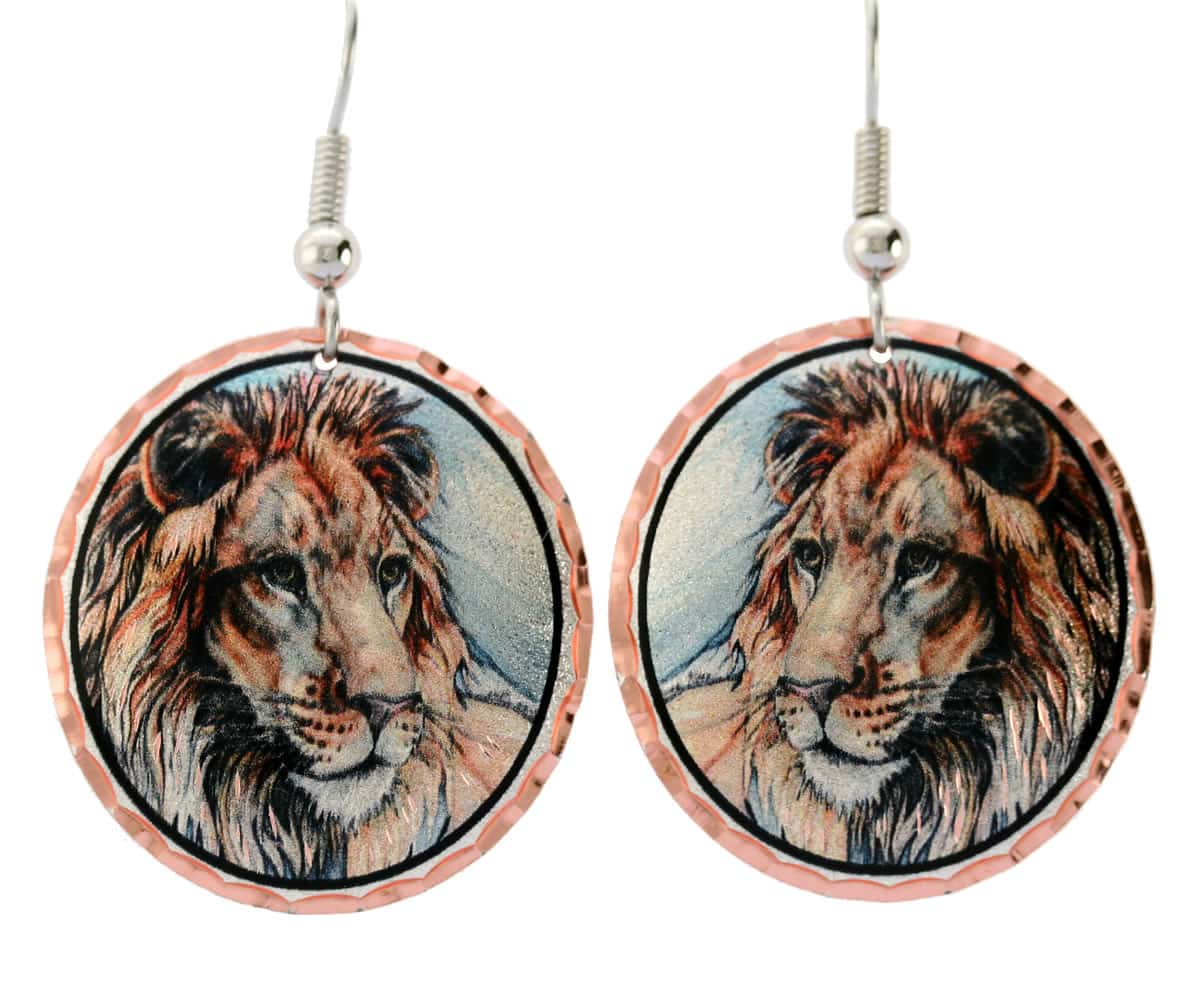 Buy charming lion earrings for women who love African wildlife