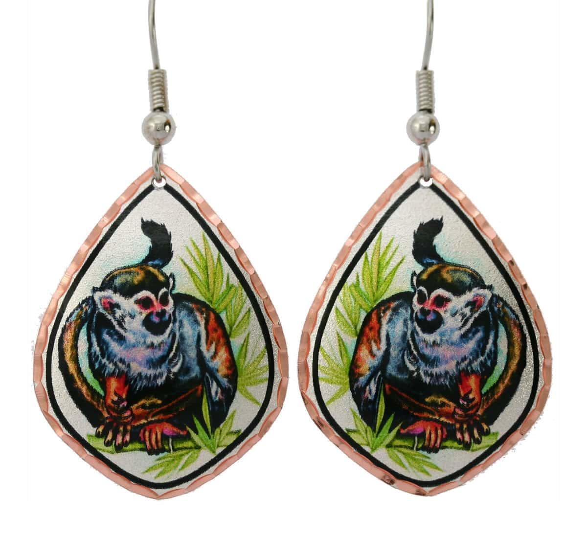 Cute monkey earrings designed by Lynn Bean in breathtakingly beautiful artwork