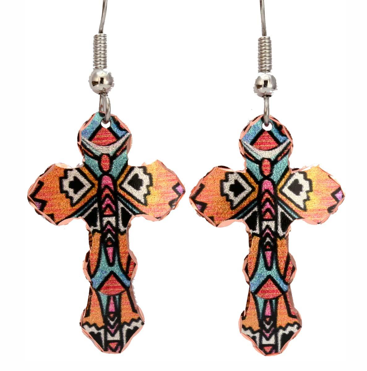 Unique Art Jewelry, Native Style Cross Earrings