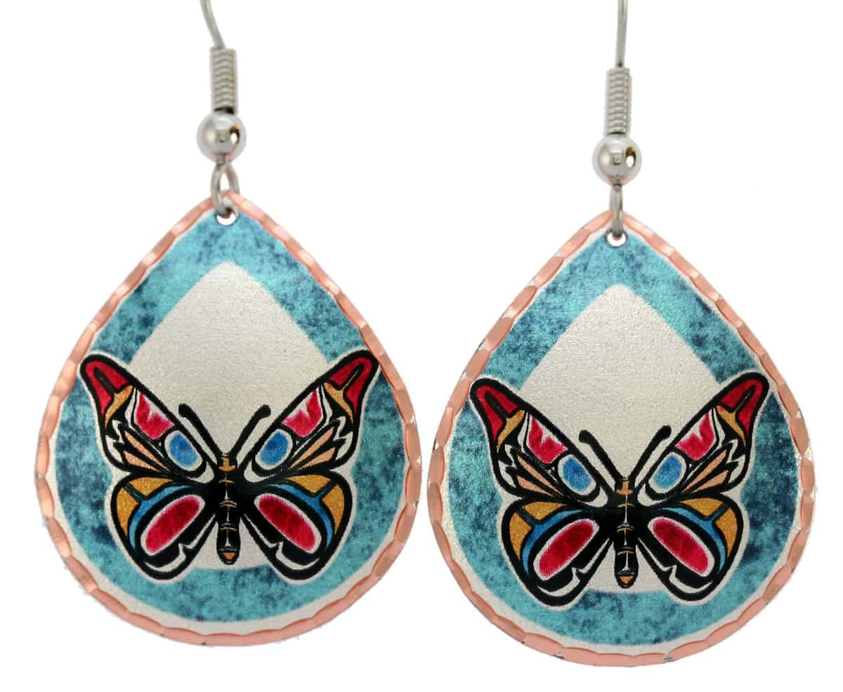 Northwest Native Haida butterfly earrings handmade from copper with eye-catching colors