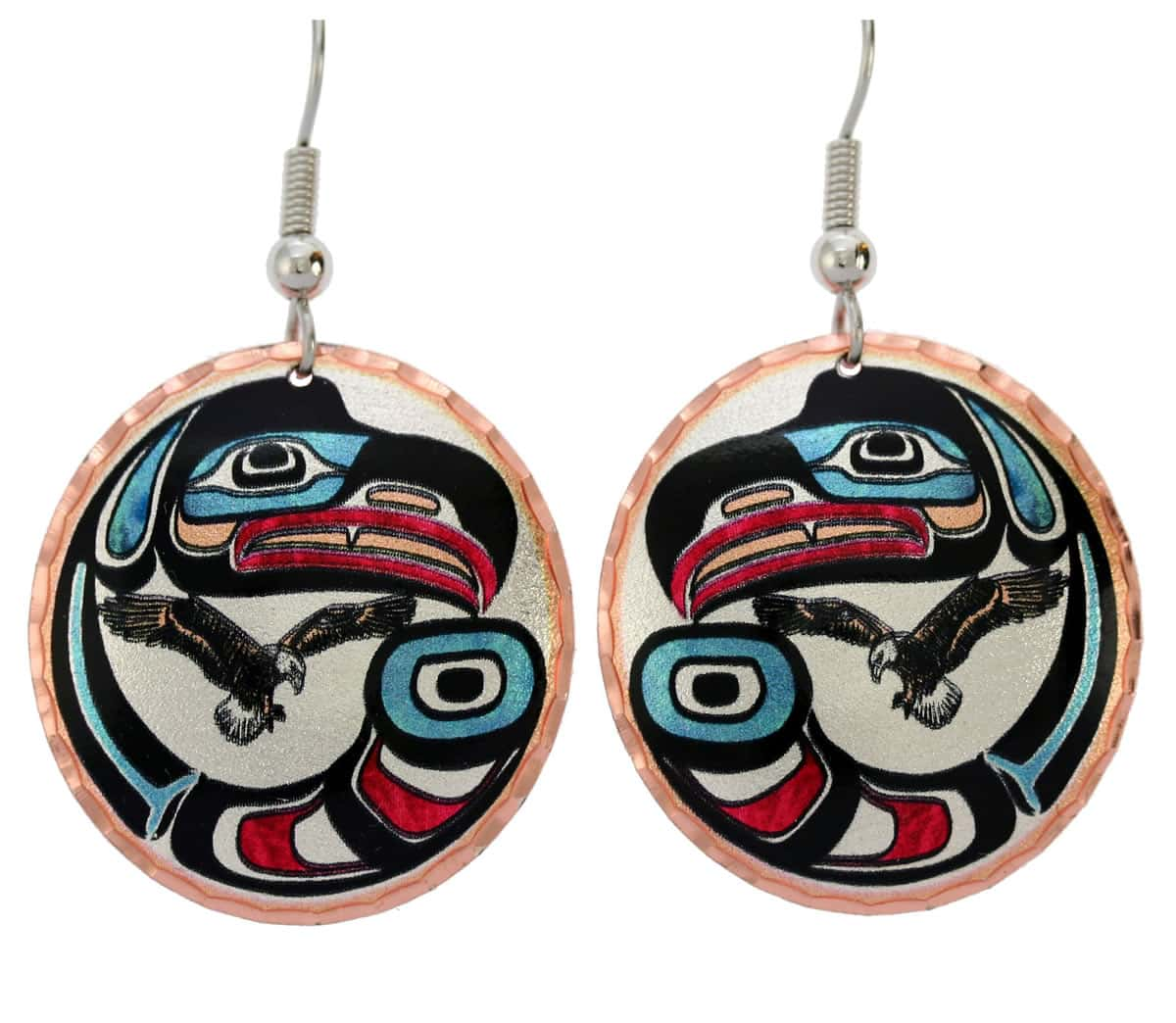 Northwest Native eagle earrings handmade in vibrant colors to brighten up your days