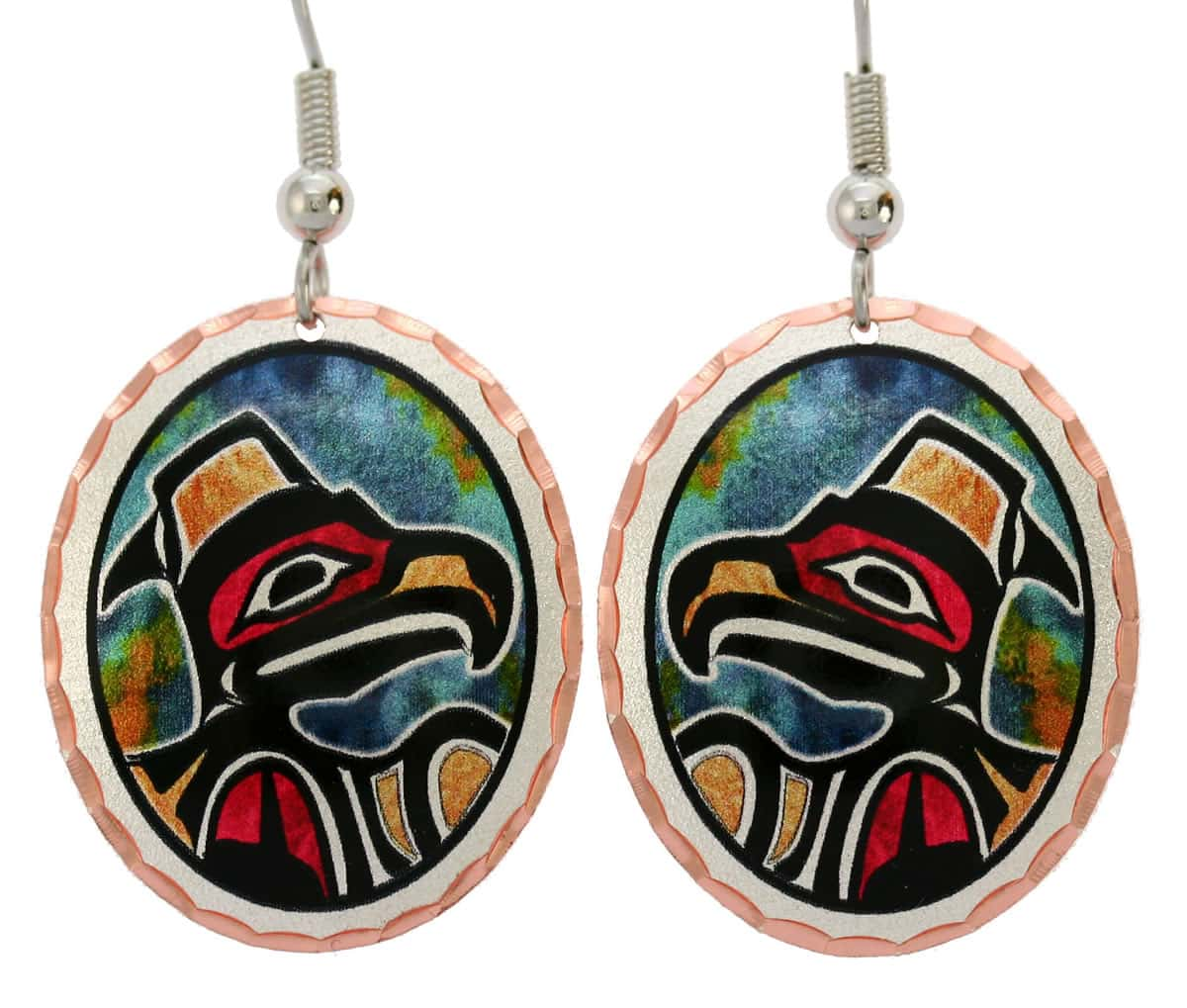Northwest Native eagle earrings handmade from copper in bright colors will evoke delighted admiration