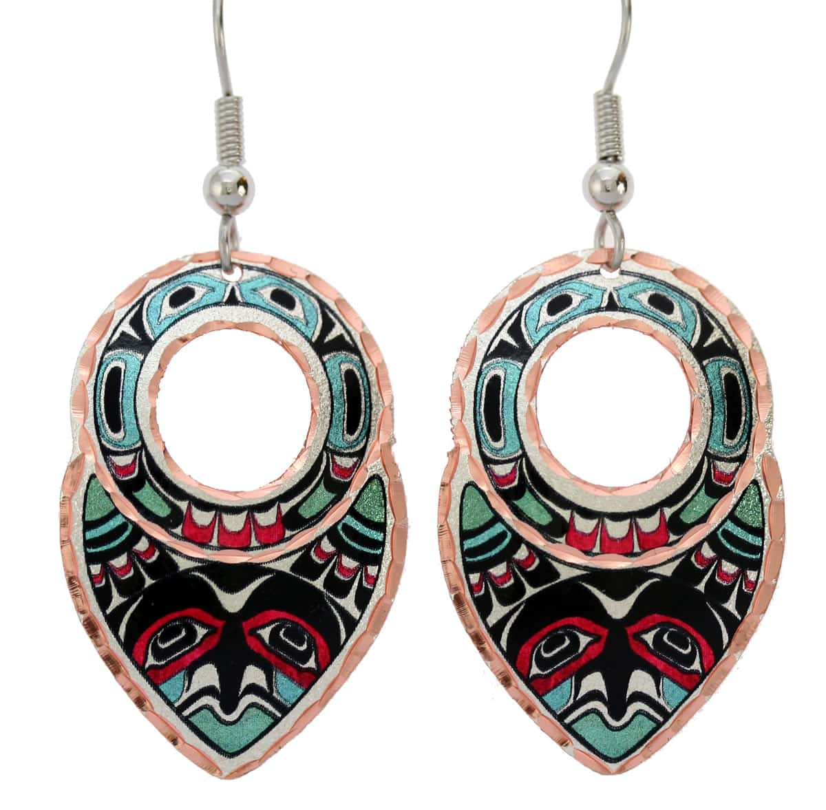 Buy colorful Northwest Native Haida eagle earrings stylish and feminine