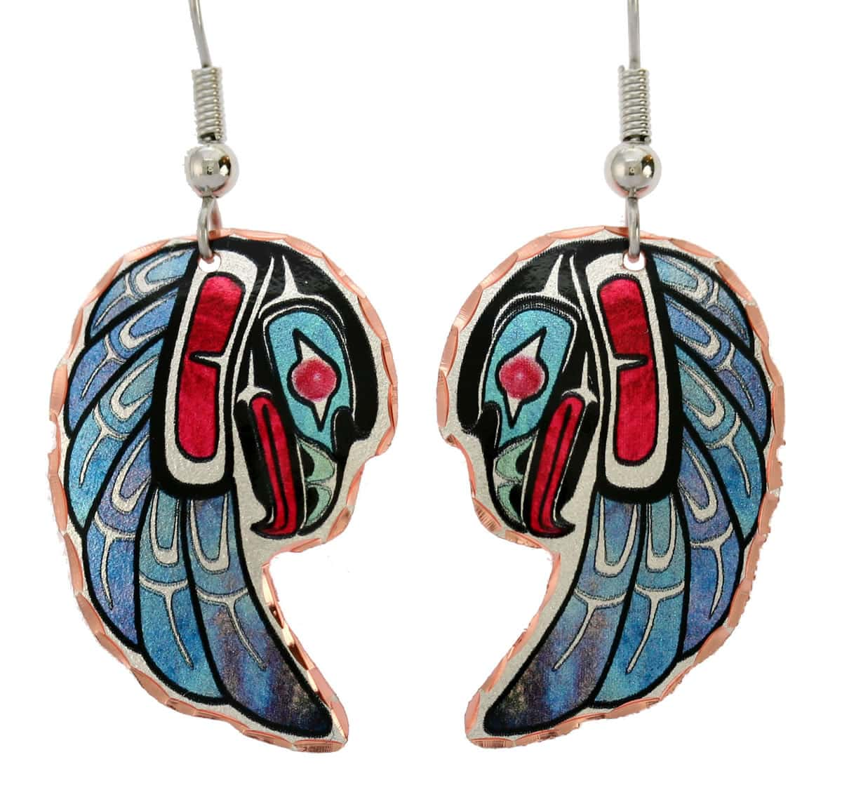 Northwest Native eagle earrings handmade in vibrant colors from copper