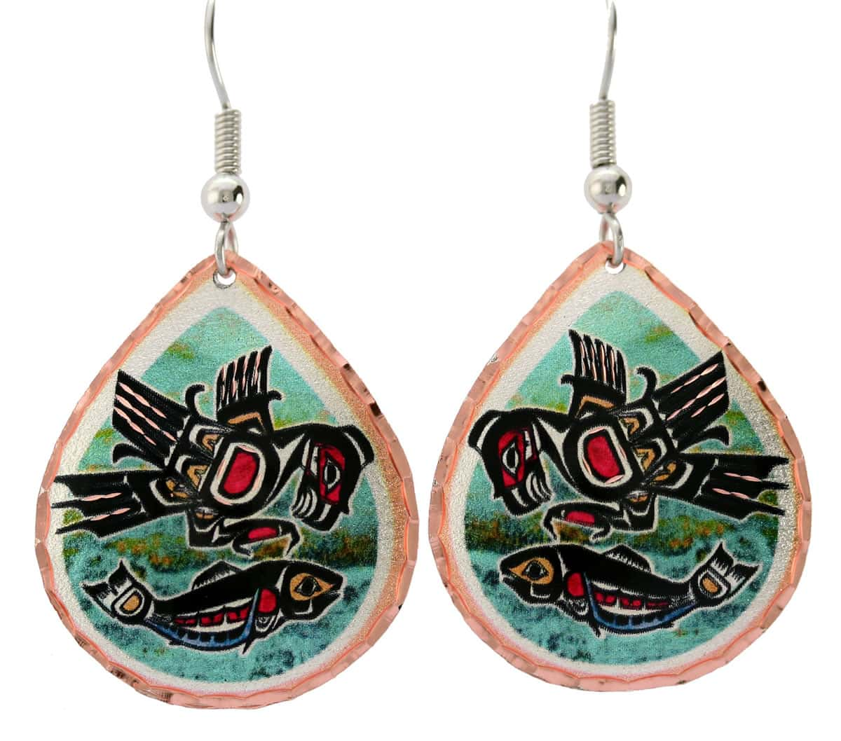 Northwest Native eagle and salmon earrings with surgical steel hypoallergenic ear wires