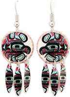 These colorful copper dangle Native Haida eagle earrings will take your breath away