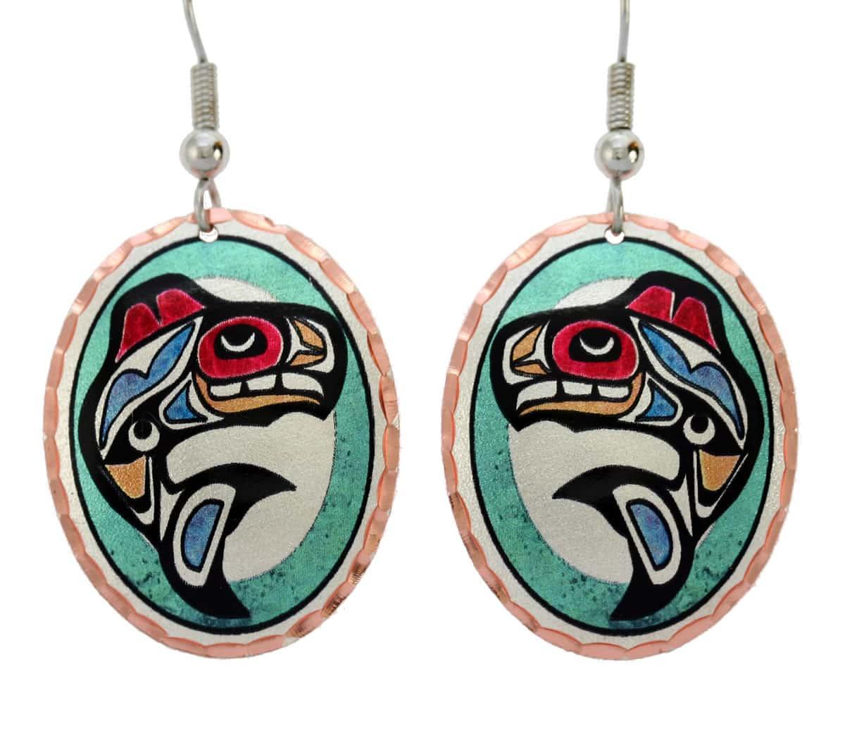 Northwest Native Haida Killer Whale Earrings