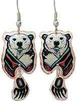 Make a bold style statement by wearing these fascinating polar bear earrings with dangle bear paw