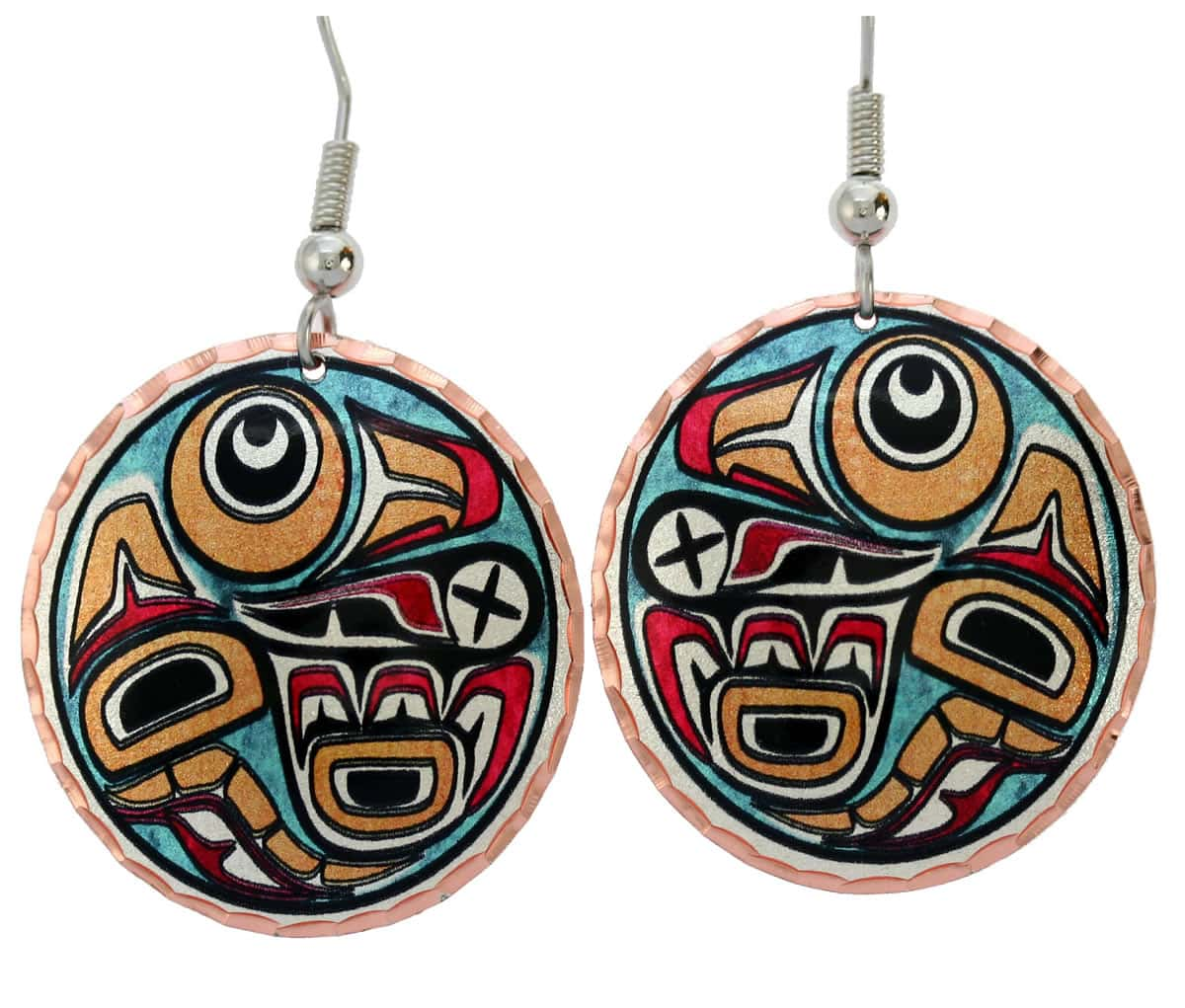 Buy Northwest Native raven earrings inspired by nature Haida Indian art