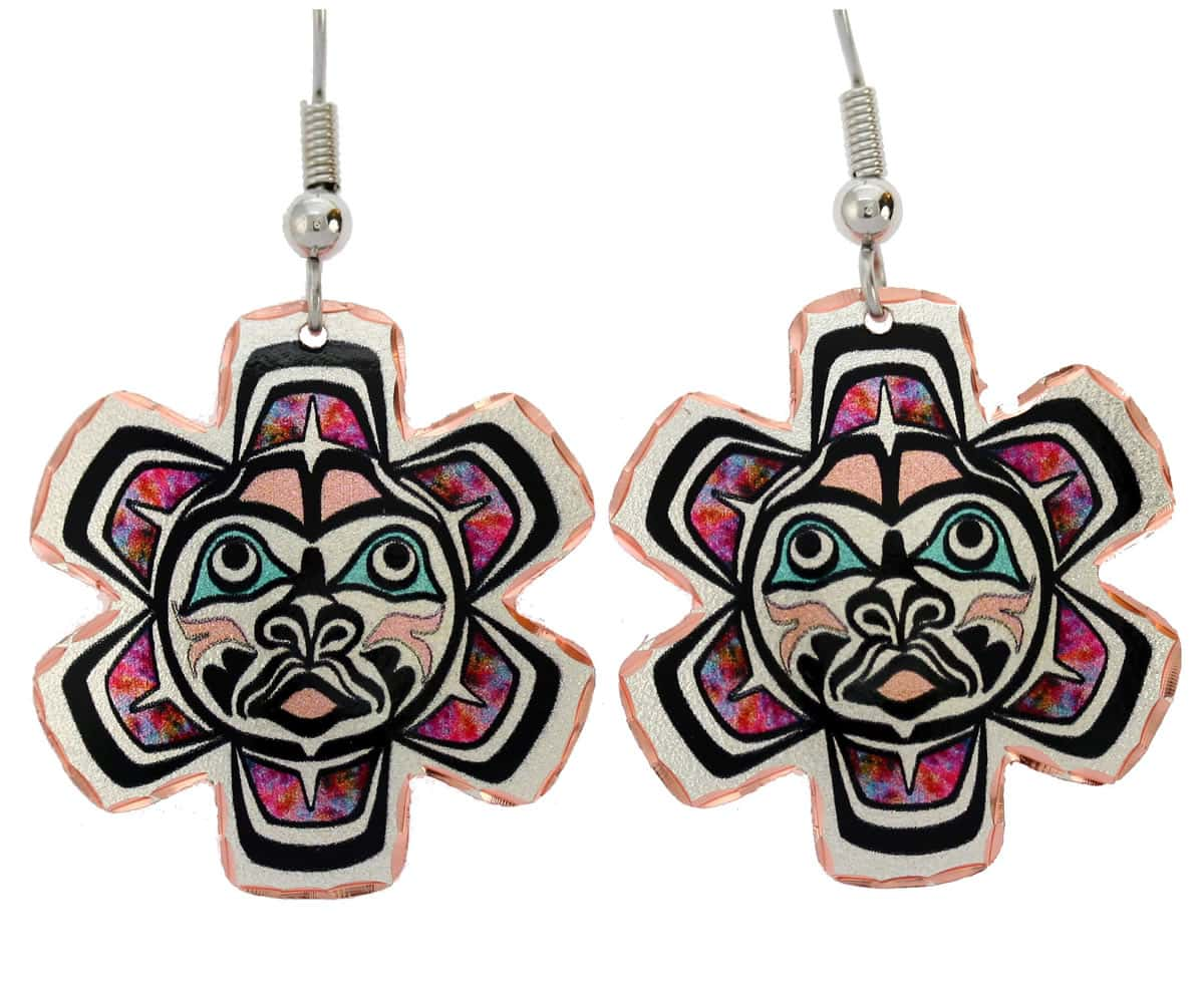 Native Haida sun totem earrings with surgical steel hypoallergenic ear wires
