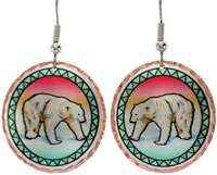 Polar bear earrings inspired by arctic wildlife handmade from copper with vibrant background colors