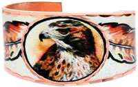 Red Tailed Hawk Rings, Art jewelry rings designed by Lynn Bean