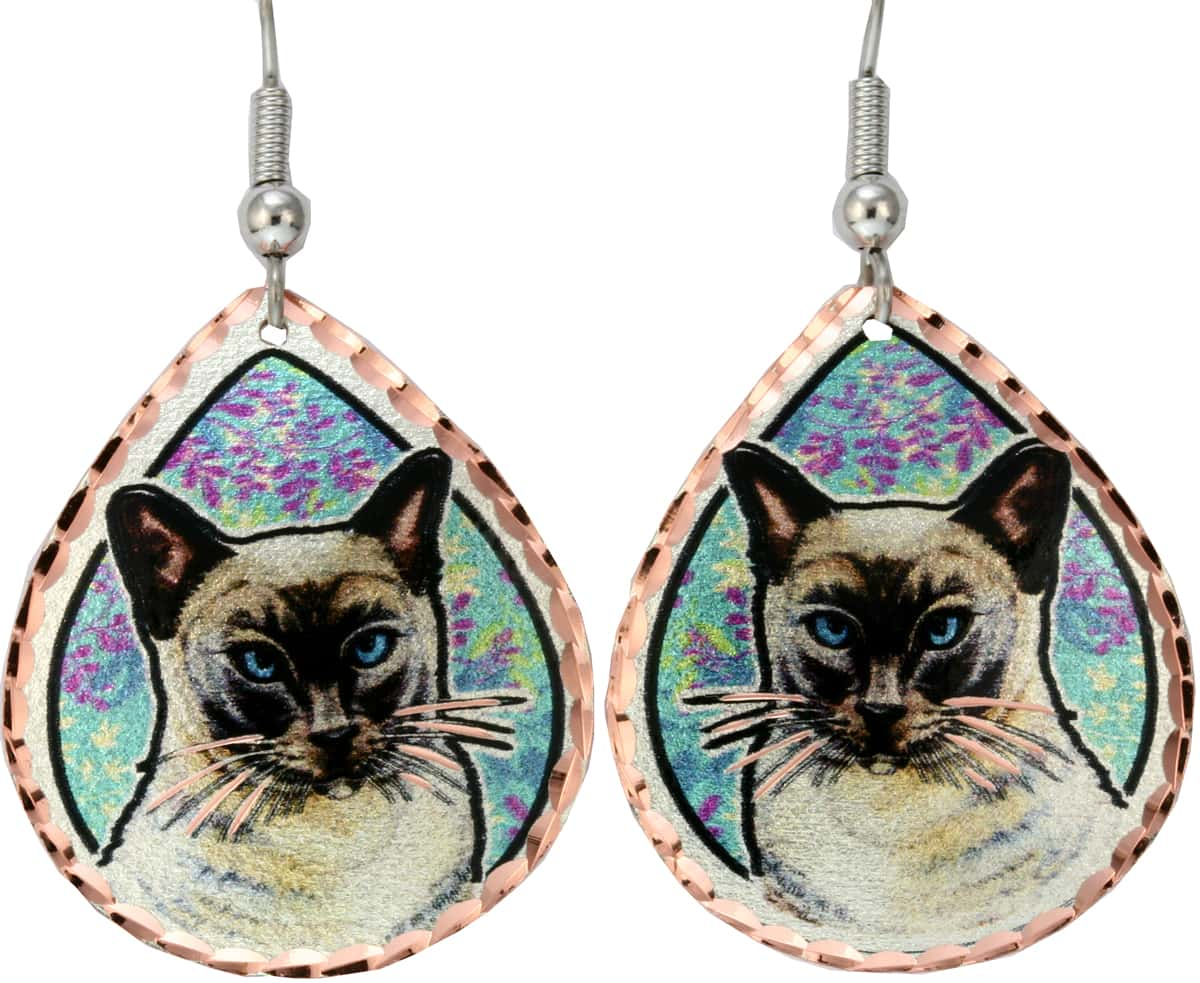 Siamese Cat Earrings With Flower Background