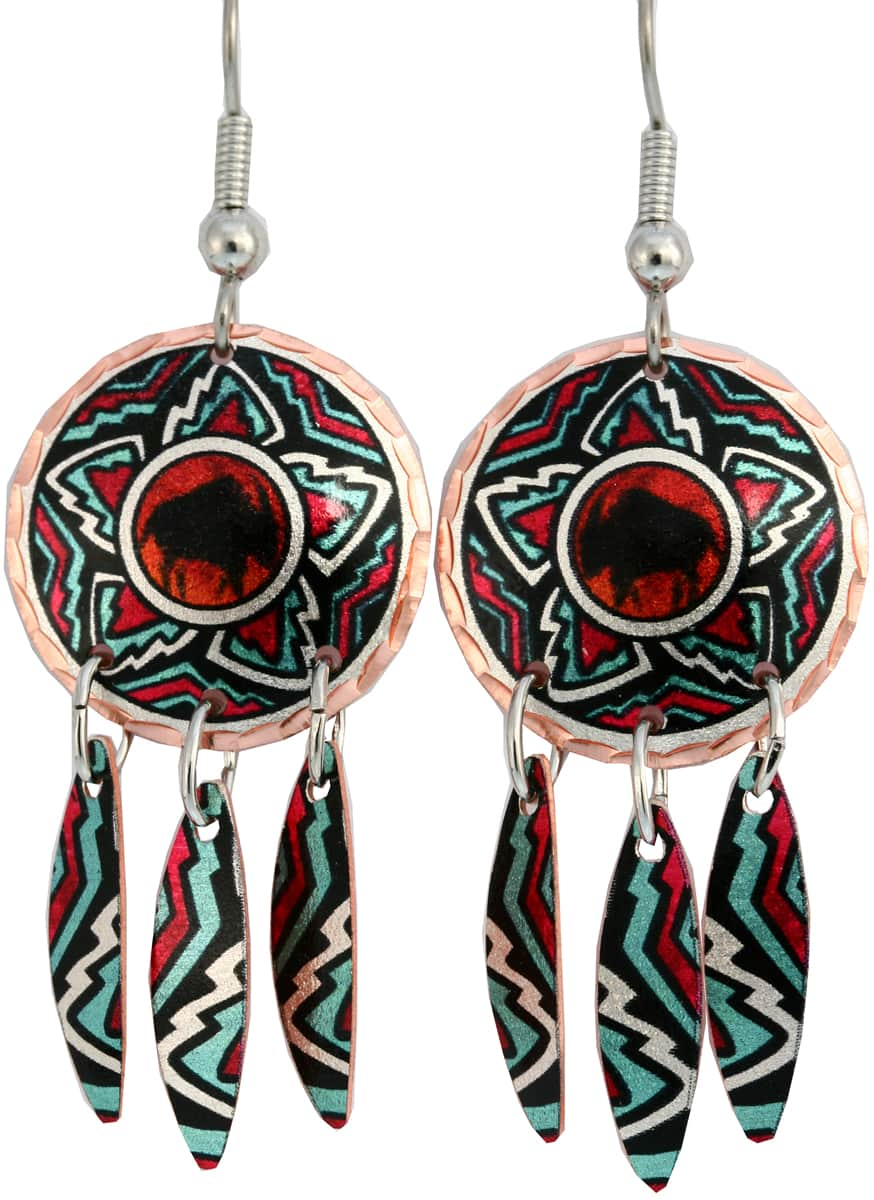 Buy Southwest Native American buffalo earrings with dangle copper feathers