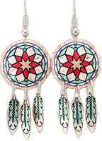 Round Southwest Native American earrings with copper feather dangles