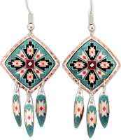 Dangle Southwest Native earrings handmade from copper in patina green colors