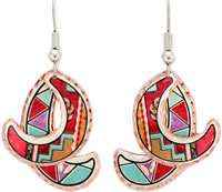 Dangle Southwest Native earrings handmade in bright red and turquoise colors