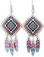 Dangle Southwest Native earrings made in square shape with copper feather dangles