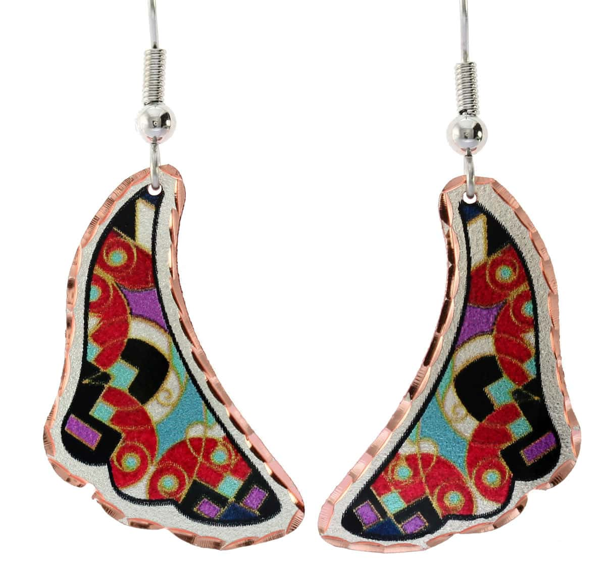 Colorful abstract art earrings perfect choice for women who love Southwestern fashion