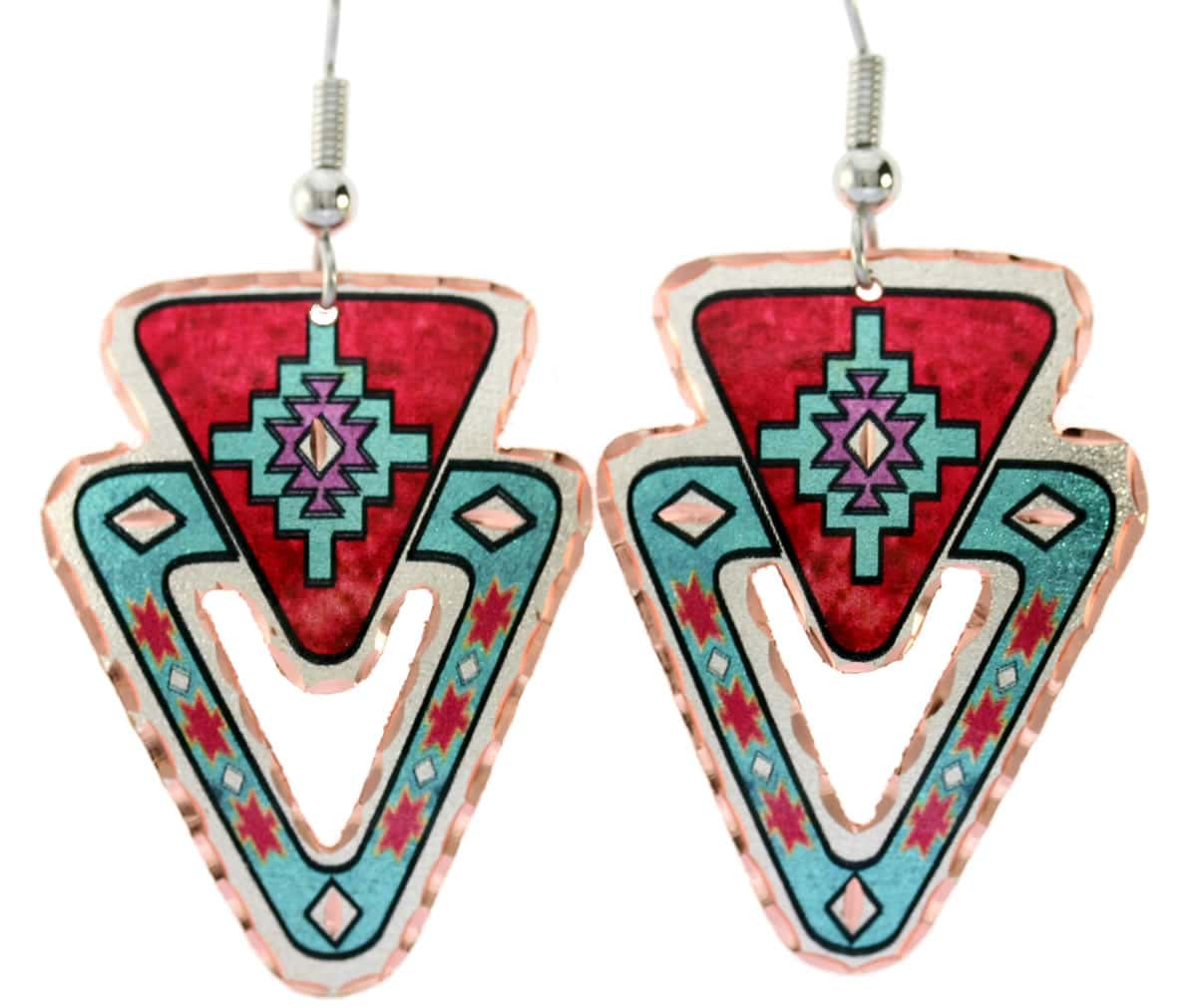 Buy Native American earrings earrings handmade from copper in bright colors will evoke delighted admiration