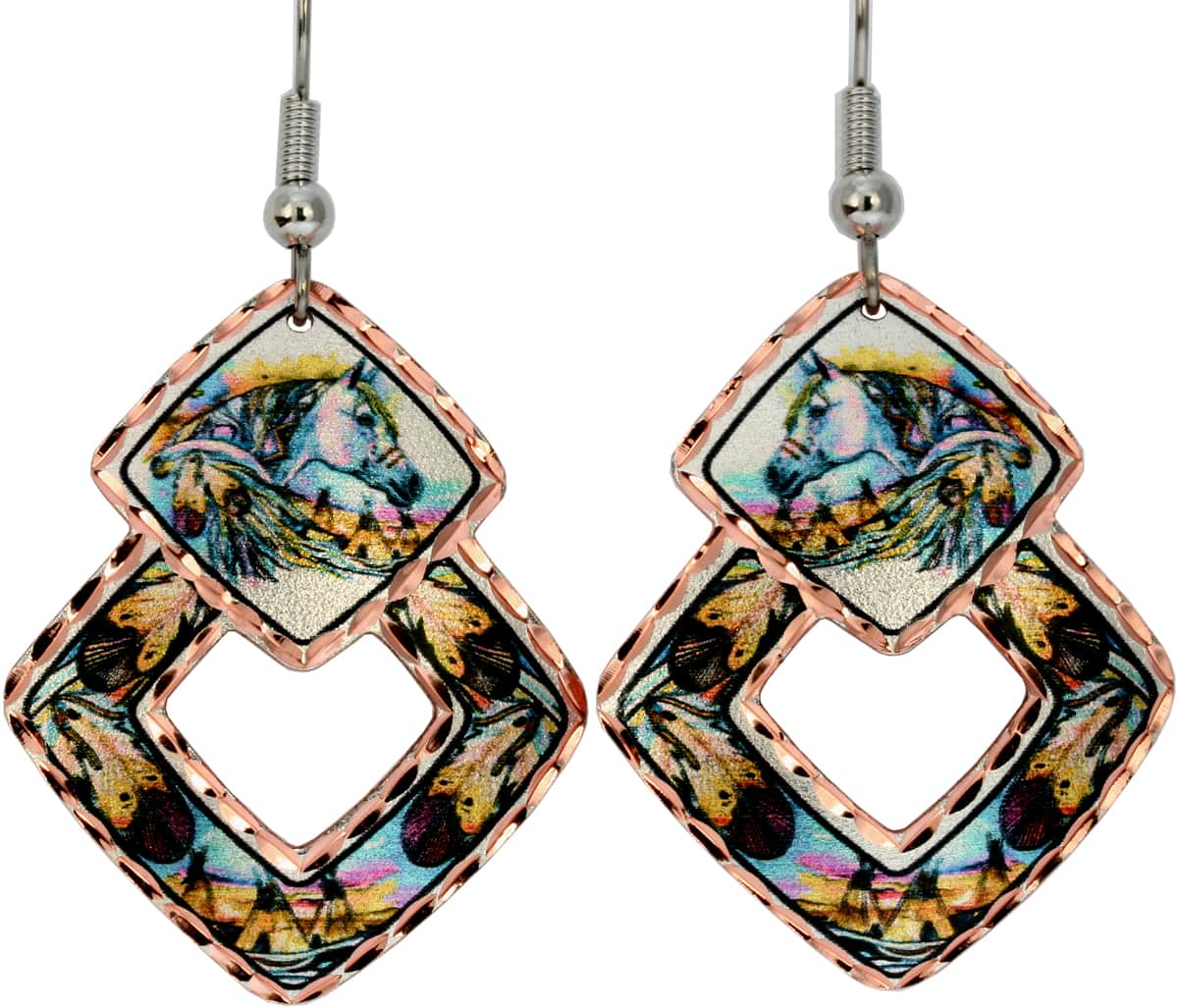 SW Native Horse Earrings Designed in Colorful Feather and Horse Artwork