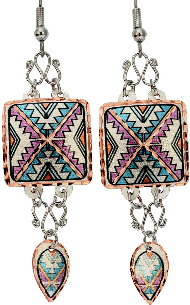 Buy SW Native American earrings made from copper embellished with silver color wires