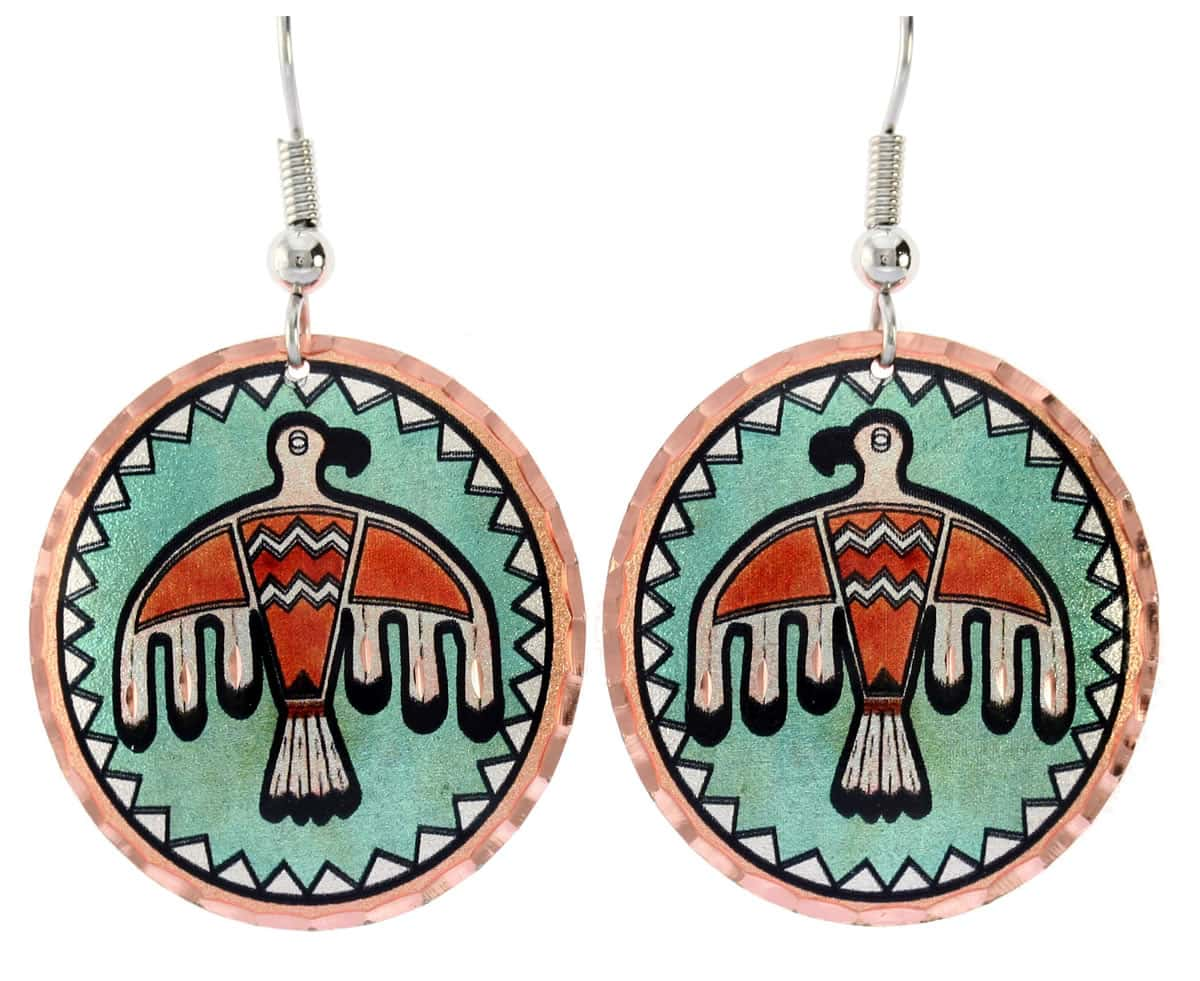 Round Native Thunderbird earrings accentuated with a patina green