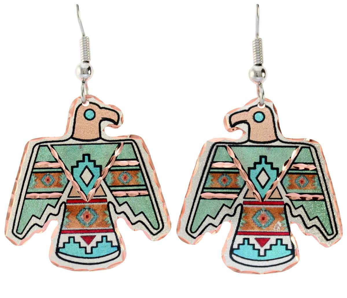 Colorful handmade Thunderbird earrings fashionably elegant and sophisticated