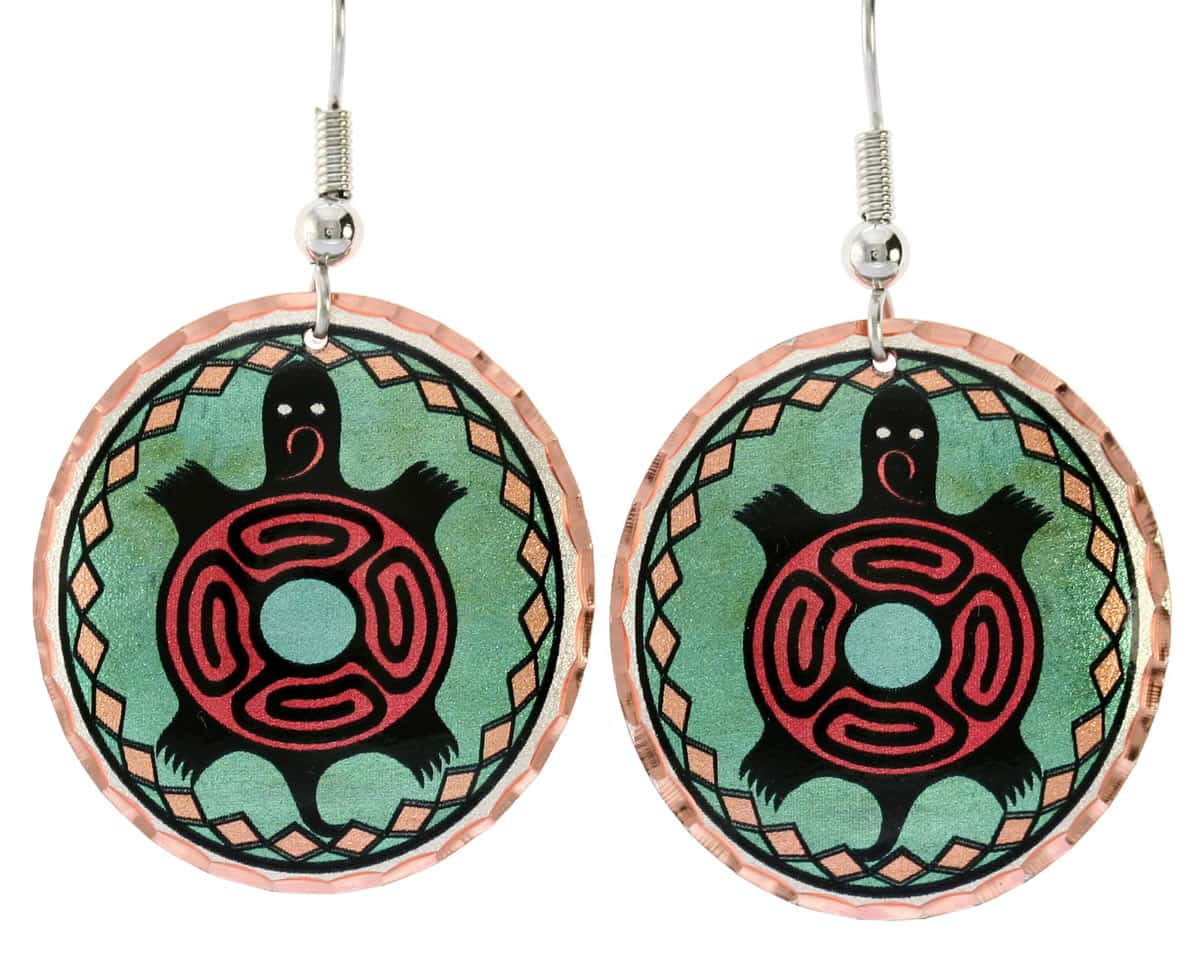 Enchanting turtle earrings handmade from copper in Native American flair