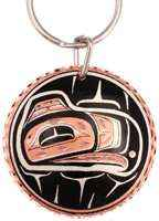 Buy handmade copper gifs online, intriguing Native Haida eagle keychains for women