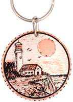 Buy lighthouse keychains handmade from copper silver-plated and diamond cut to sparkle. No polishing required.