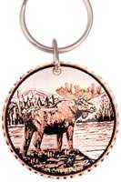 Moose keychains handmade from copper silver-plated and diamond cut to sparkle. No polishing required.
