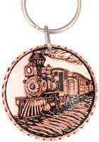 Handmade copper gifts for women and men, unique steam train keychains