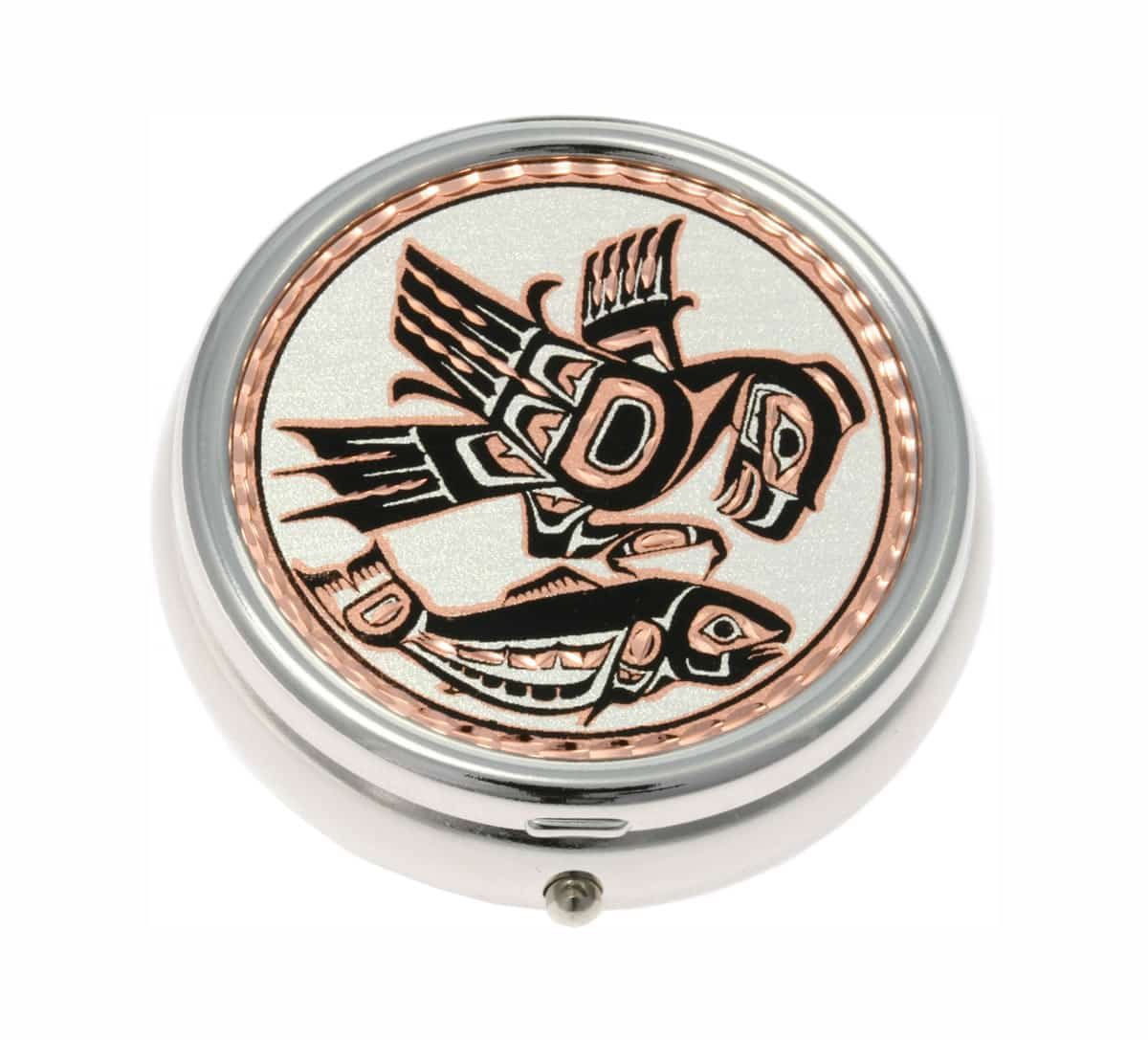 Elegant Native Haida Indian Eagle and Salmon Pill Boxes, Special Handmade Gifts for Women