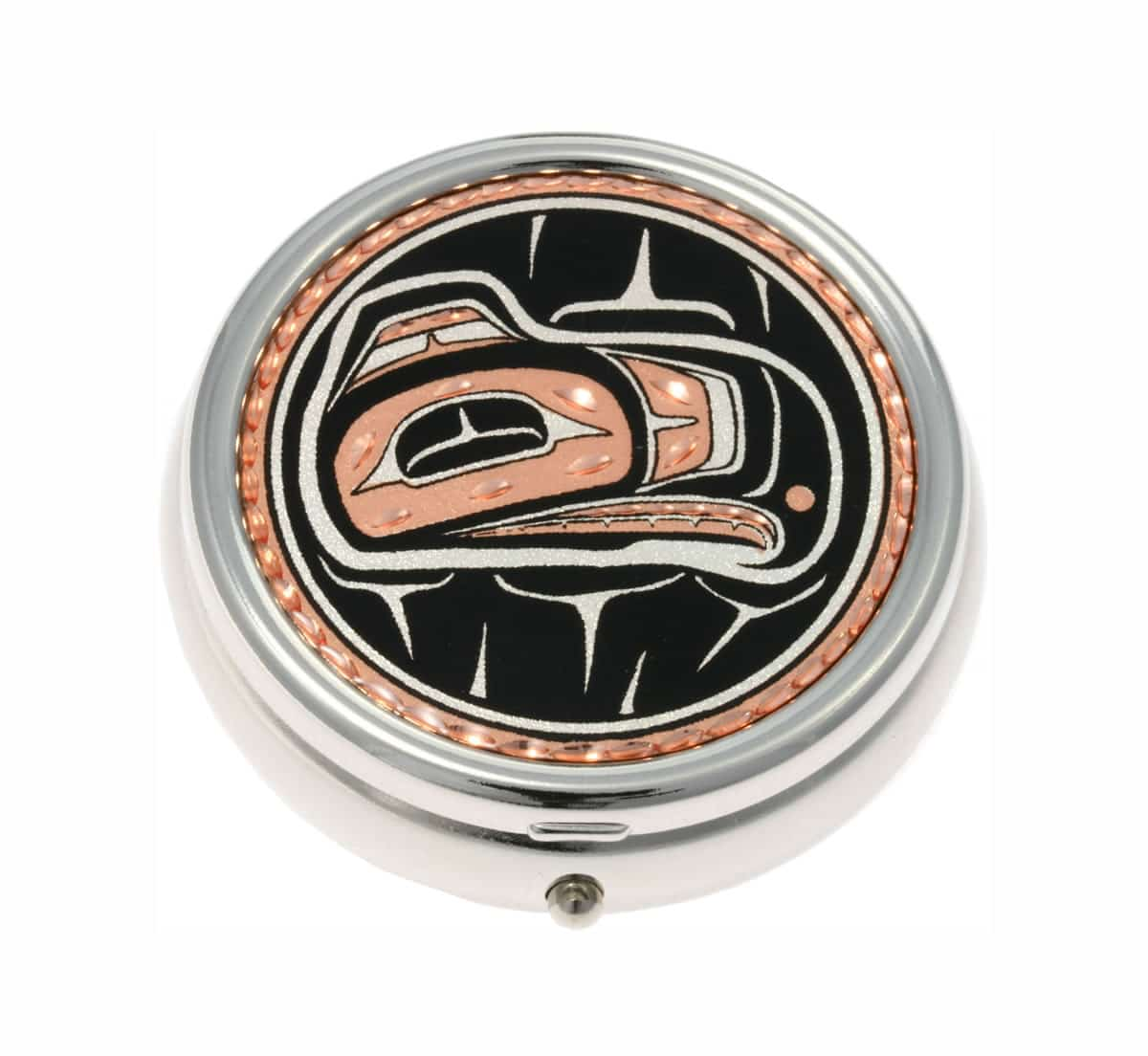 Buy Stylish Silver Color Pill Boxes Embellished with American Native Haida Indian Eagle Copper Artwork