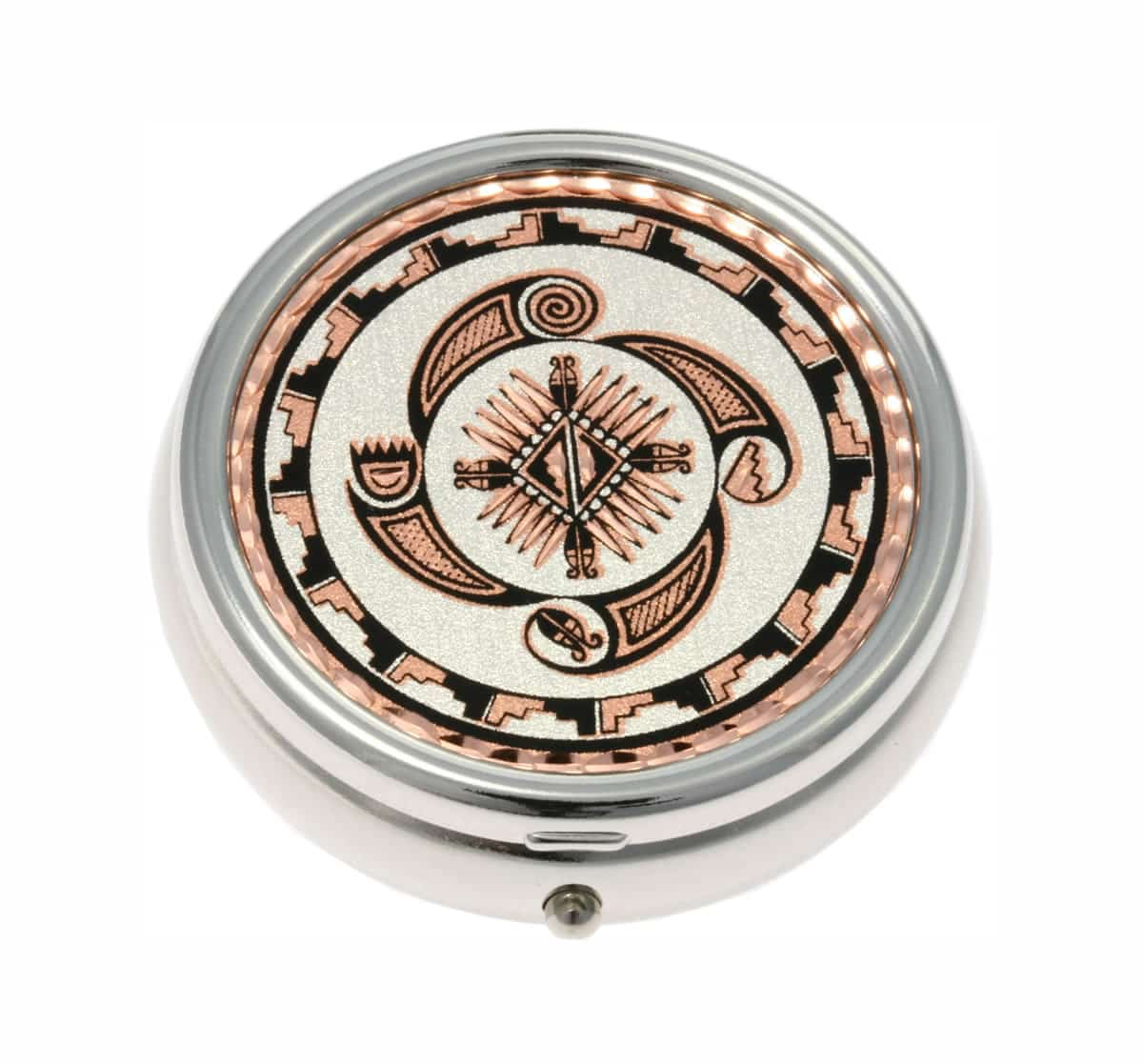 Silver Color Pill Boxes Embellished with Native American Four Elements Earth, Wind, Fire and Water Copper Artwork
