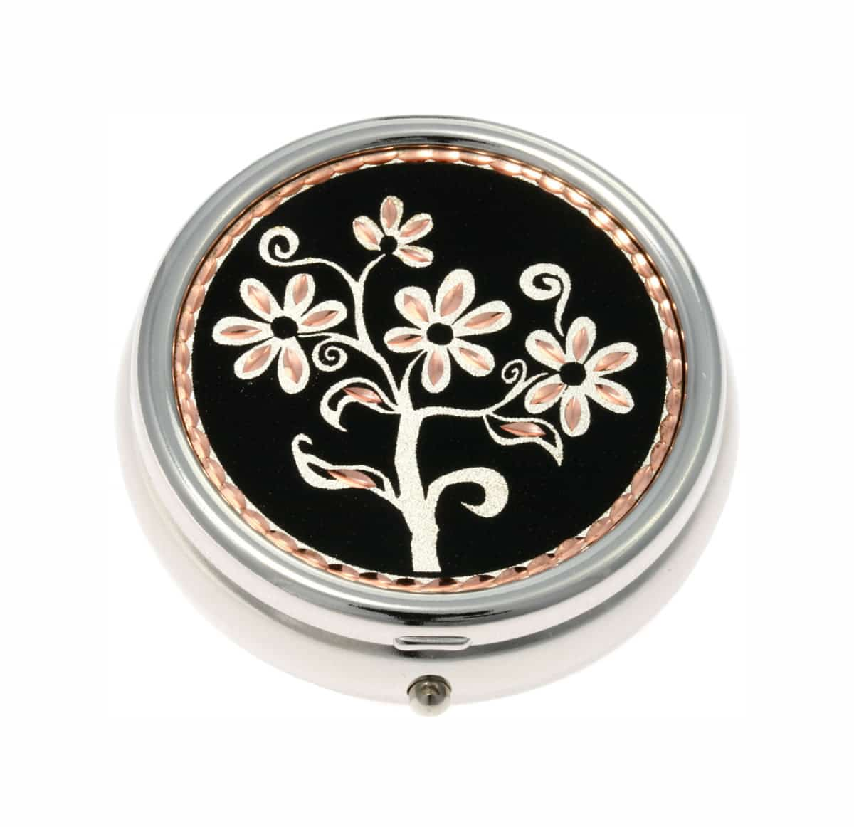 Buy Elegant Black Patina Background Flower Pill Boxes, Special Handmade Gifts for Women